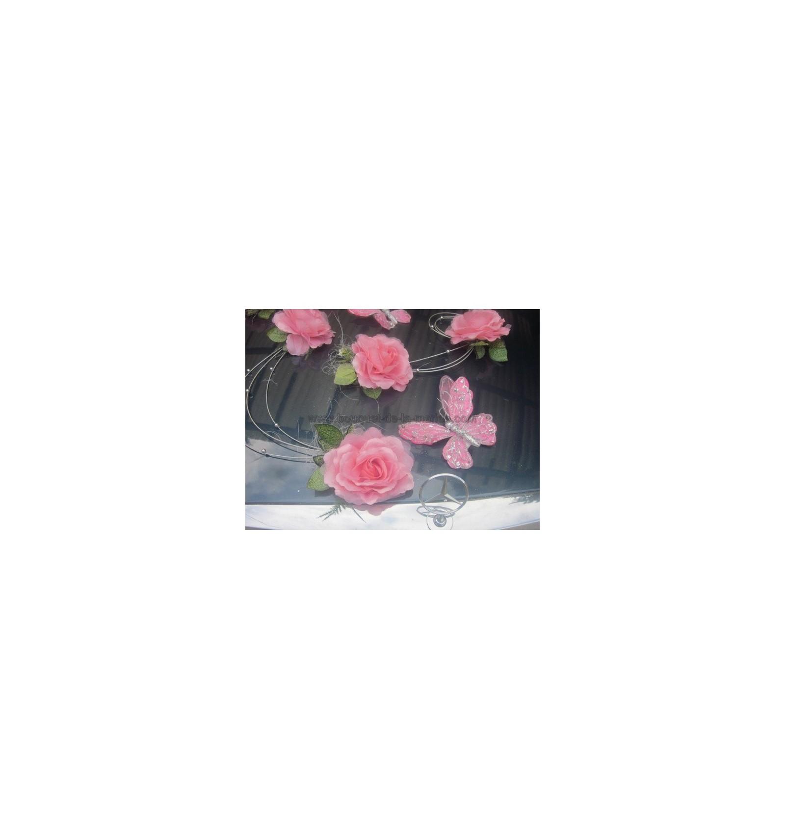 D co voiture pour mariage th me rose et argent avec des papillons bouquet de la mariee - Deco chambre argent et rose ...