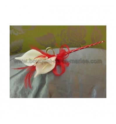 bouquet arums demoiselle d'honneur mariage rouge