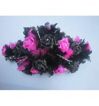 decoration de table mariage fuschia et noir