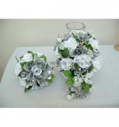 Bouquet mariée, bouquet demoiselle d'honneur et boutonnière