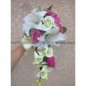 Bouquet Mariée Tombant avec des orchidées vertes et fuchsia