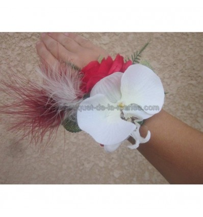 bouquet bracelet mariage orchidée et rose