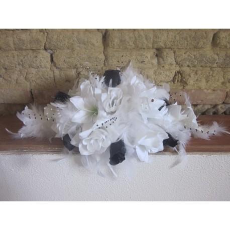 Lys et roses noir et blanc 53cm