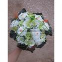 Magnifique Bouquet de la mariée sur tiges thème vert anis et orange