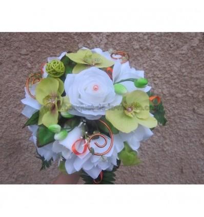 bouquet mariée orange et vert anis