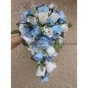 Bouquet de fleurs Cascade bleu ciel pour Mariage, boutonnière offerte