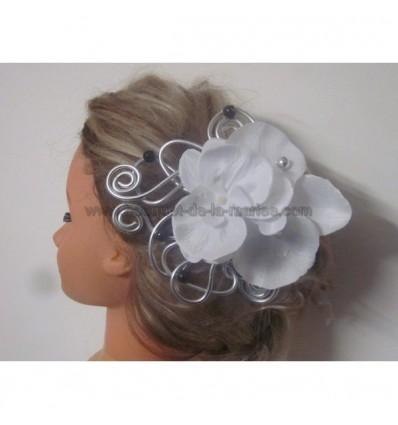 Peigne de cheveux mariée noir, argent et blanc