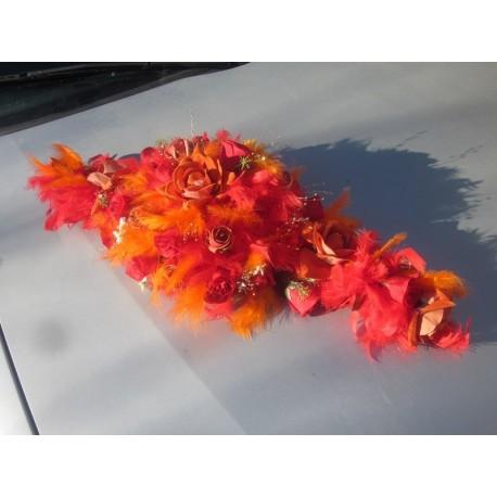 decoration voiture mariage orange et rouge