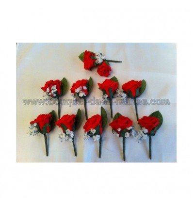 10 x boutonnière mariage rose rouge