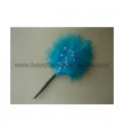 boutonnière plume turquoise et perles