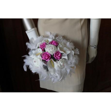 Bouquet rond fushia / argent
