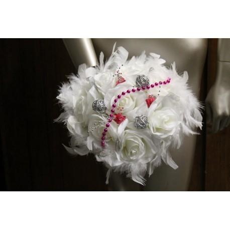 bouquet mariée fuschia et argent