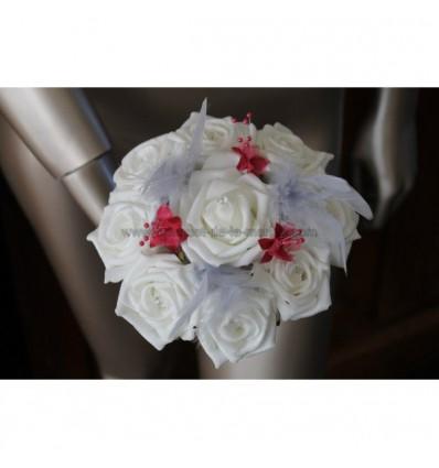 Bouquet demoiselle d'honneur fuschia et argent