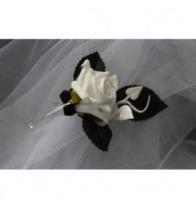 boutonnière mariage noir et blanc