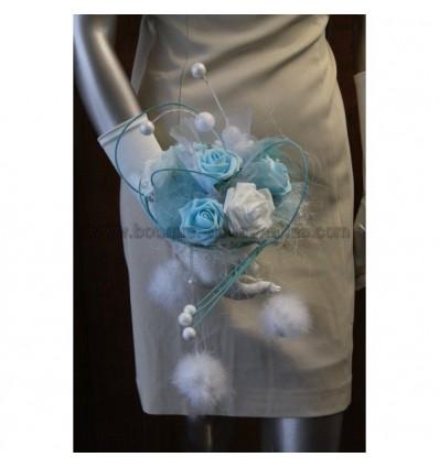 Bouquet mariee theme hiver bleu et blanc