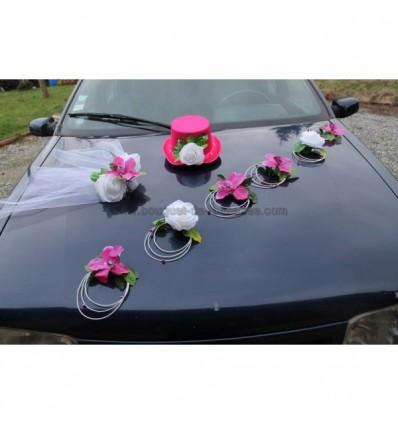 D coration voiture mariage chapeau voile fuchsia blanc bouquet de la mariee - Decoration voiture de mariage ...
