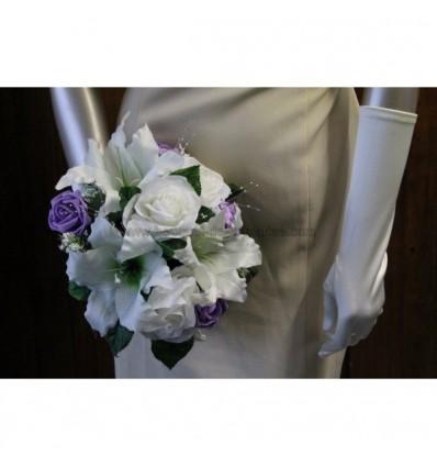 bouquet de mariée blanc et parme LYS