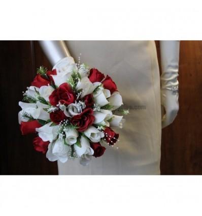 bouquet mariée bordeaux et ivoire roses