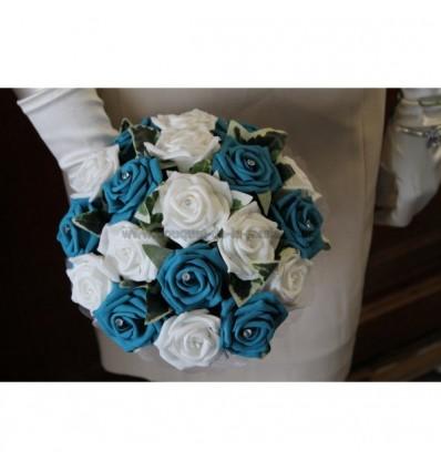 Bouquet rond turquoise bleu,blanc et diamantes