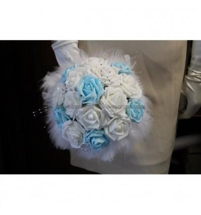 Bouquet mariage bleu et blanc plumes