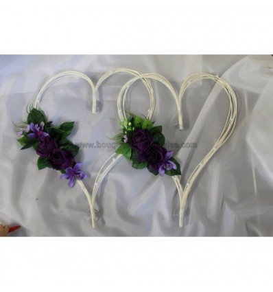 2 x Coeurs voiture mariage couleur prune