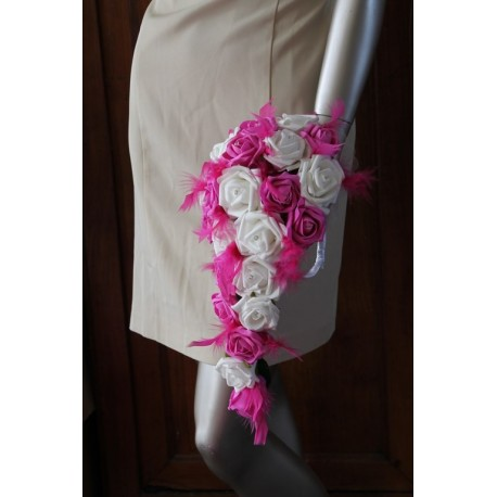 bouquet mariée fushia plumes