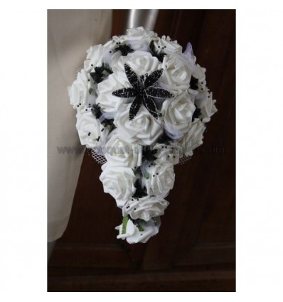 promotion bouquet mariage cascade noir blanc avec lys en perles bouquet de la mariee. Black Bedroom Furniture Sets. Home Design Ideas