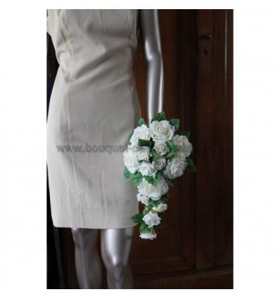 Boquet mariée roses couleur ecru