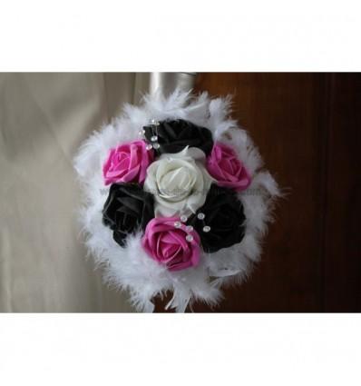 Bouquet demoiselle d'honneur fuschia noir