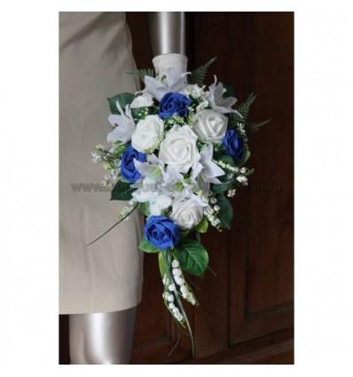 Bouquet Roses, Lys et Muguet blanc et bleu