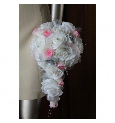 Bouquet blanc rose et argent