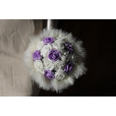 Bouquet ivoire OU blanc et parme