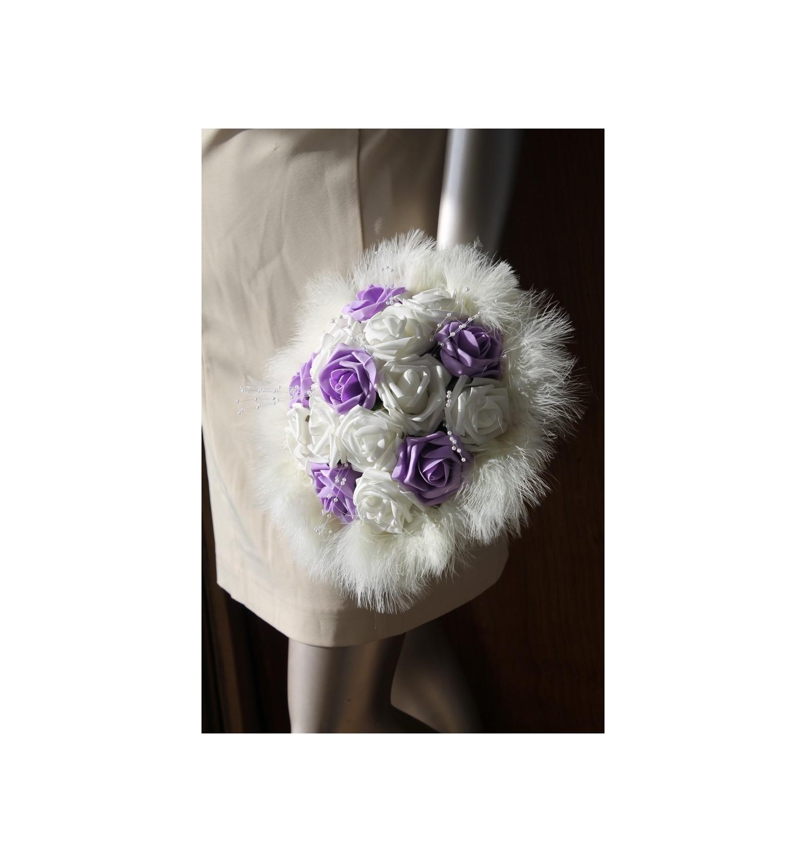 bouquet de mari e rond pas cher de th me ivoire ou blanc et parme bouquet de la mariee. Black Bedroom Furniture Sets. Home Design Ideas