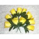 Dix Boutonnières de mariage couleur jaune avec roses et feuilles