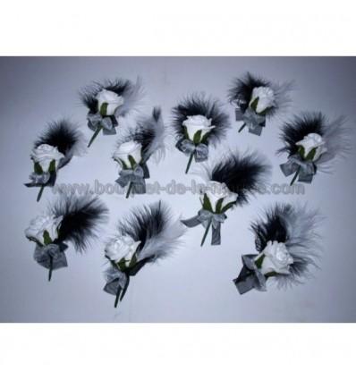 10 Boutonnières noir et blanc plumes