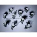 Lot de 10 Boutonnières mariage noires et blanches avec des plumes