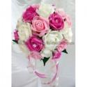 Bouquet de mariée Classique de couleur blanc, fuchsia et rose