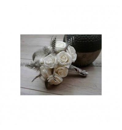 bouquet de mariée roses et plumes léopard