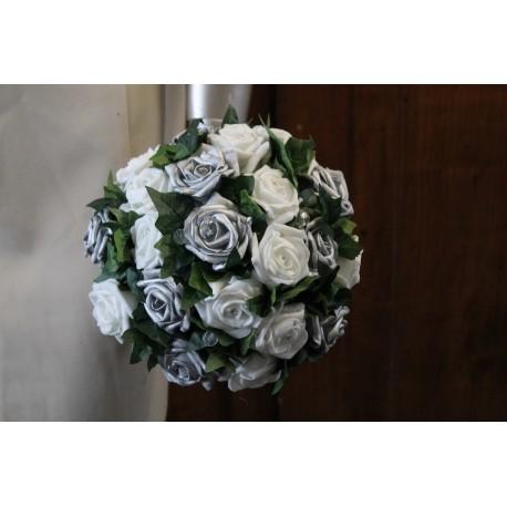 bouquet blanc et gris argent