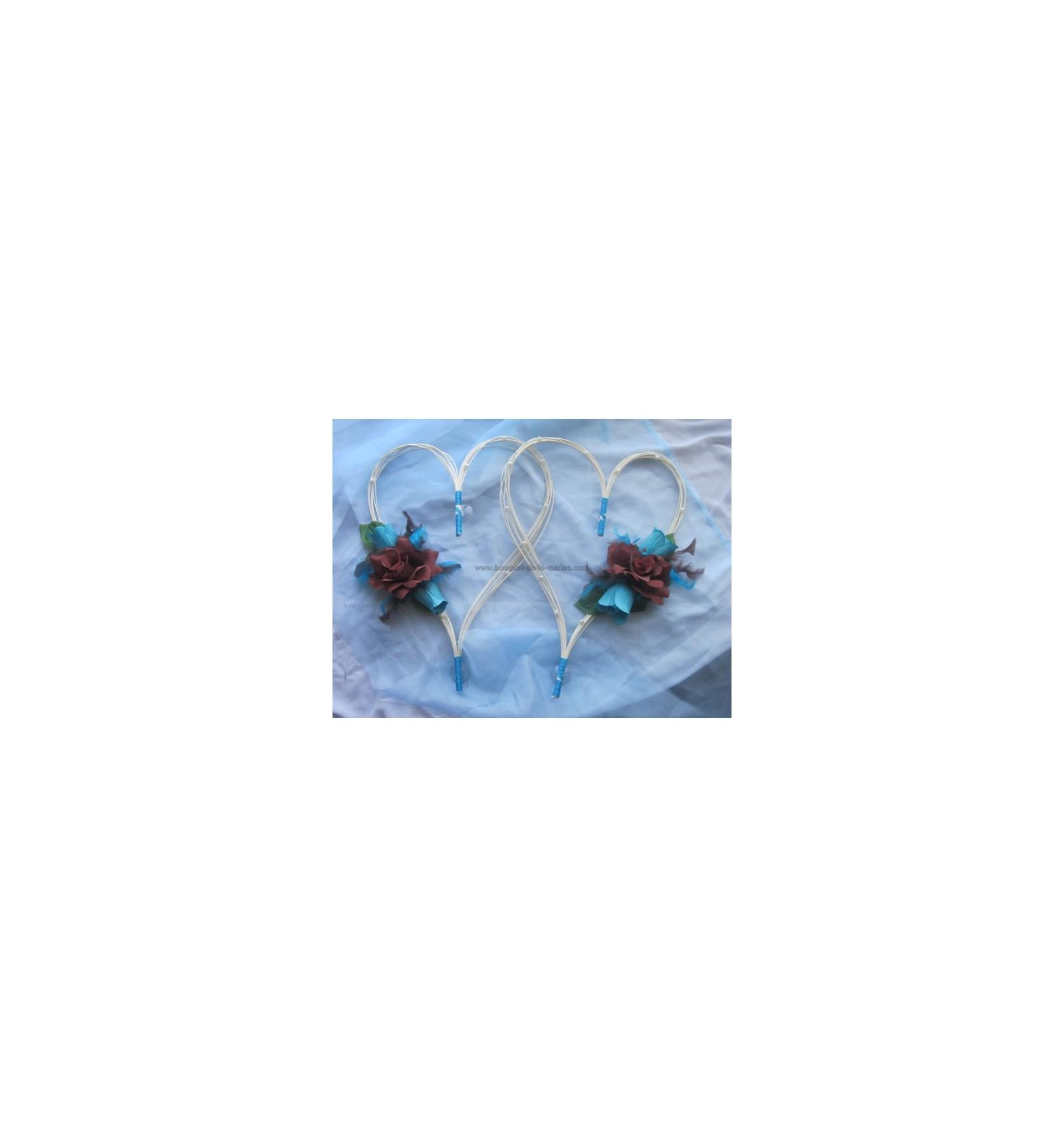 Déco Turquoise Et Chocolat Pour Mariage : Coeurs pour voiture mariées turquoise et chocolat