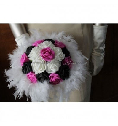 Bouquet mariage fuschia noir plumes