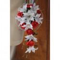 Bouquet de Mariée tombant thème lys, roses, perles rouge/blanc