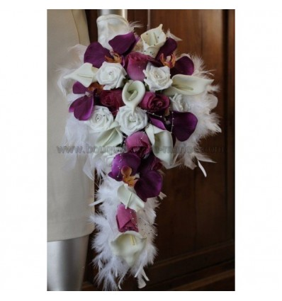 Bouquet de mariee aubergine orchidées et arums