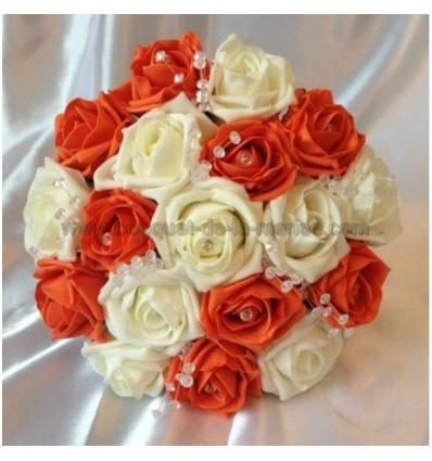 Bouquet mariée orange avec diamantes fantaisies