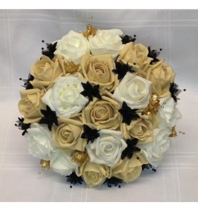 Bouquet de mariée noir, caramel et or