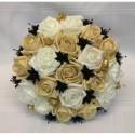 Beau Bouquet de mariée Rond avec des Roses noires, caramel et or