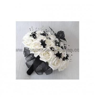 Bouquet mariée noir, blanc et argent papillon