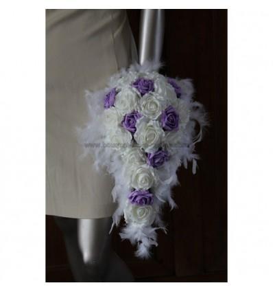 Bouquet retombant mariée blanc et parme