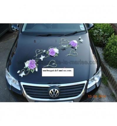 d coration pour voiture de mari e avec papillons et coeurs sur rotin bouquet de la mariee. Black Bedroom Furniture Sets. Home Design Ideas