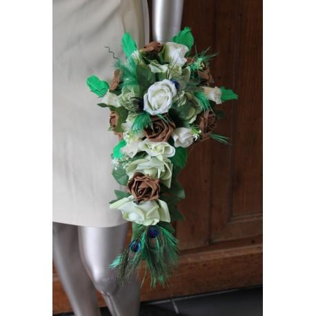 Bouquet Paon Chocolat Vert Ecru